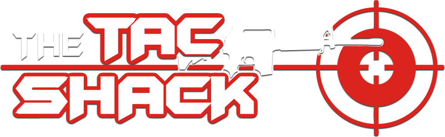 Tac Shack Logo white ar15 gun and red target