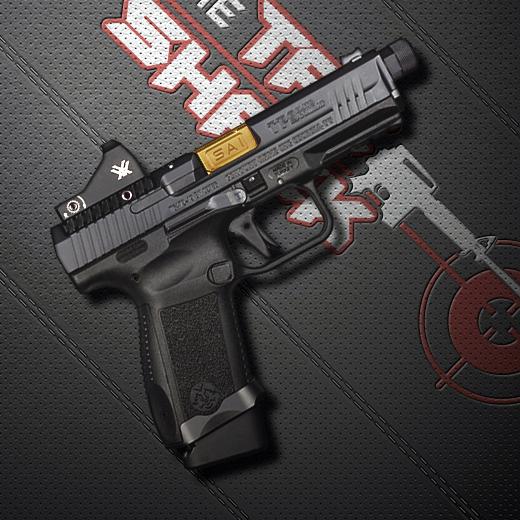9mm semi automatic pistol on black mat for gun webinar