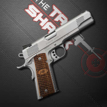 semi automatic pistol on black background for tac shack webinars
