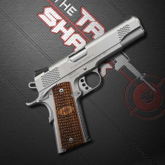 semi automatic pistol on black background for tac shack webinars